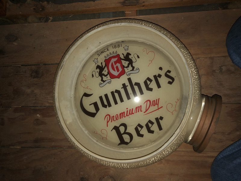 gunther premium dry beer gill globe lighted sign gillco