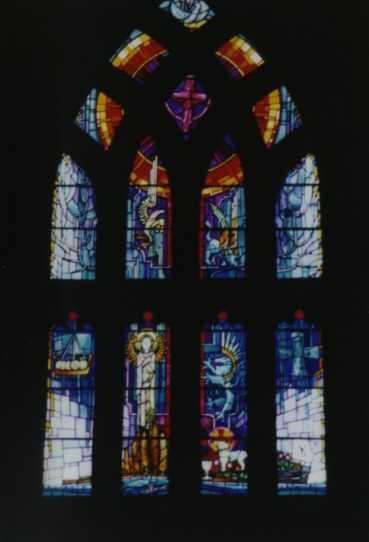 Witraż przedstawiający św. Magnusa z Füssen