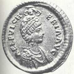 Moneta z wizerunkiem św. Pulcherii z V w.