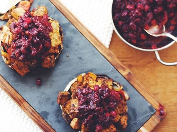 Tempeh Stuffed Portobello with Healthy Cranberry Sauce | Thanksgiving Thursday