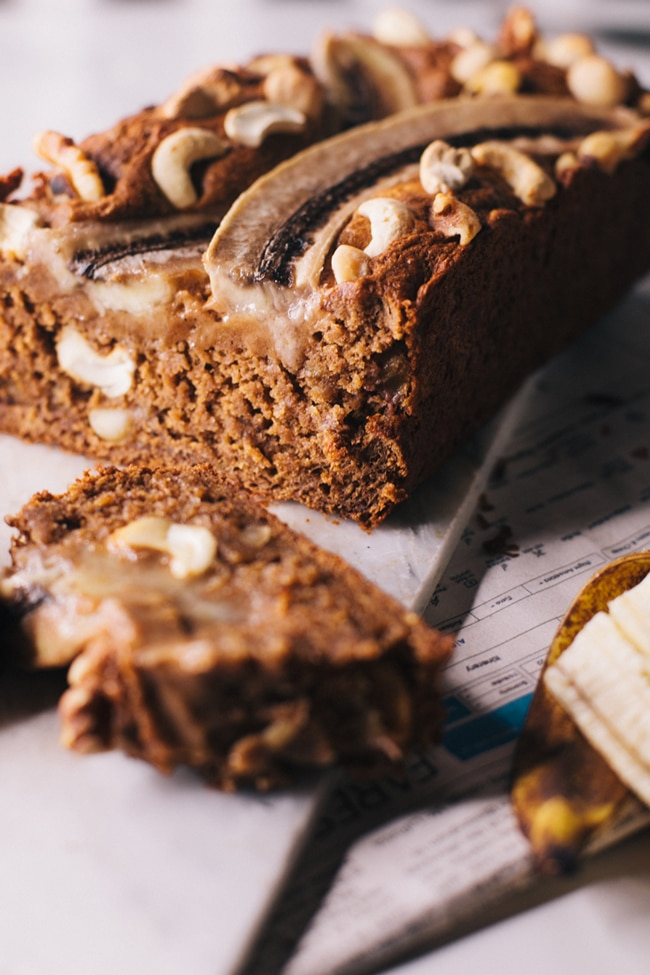 Nutty Chai Spiced Banana Bread (it's dairy free, egg free, and refined sugar free!)