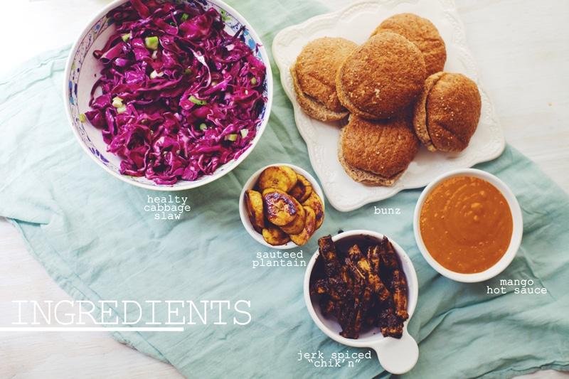 """Tropical Jerk """"Chik'n"""" Sandwich Ingredients"""