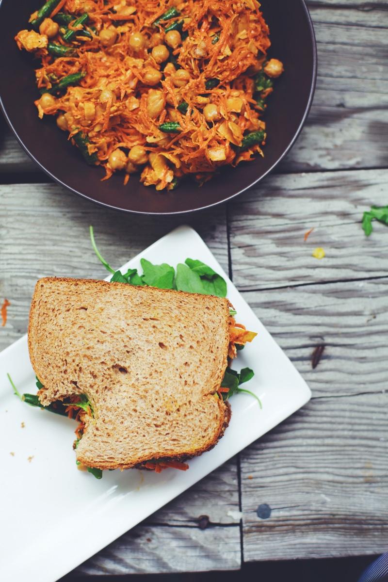 Carrot-Chickpea Slaw Sandwich