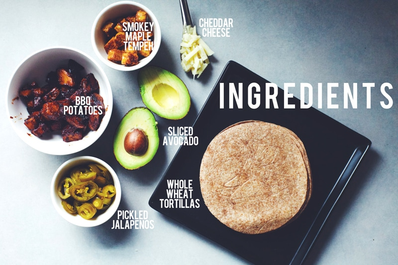 Texas BBQ Potato & Tempeh Taco Ingredients