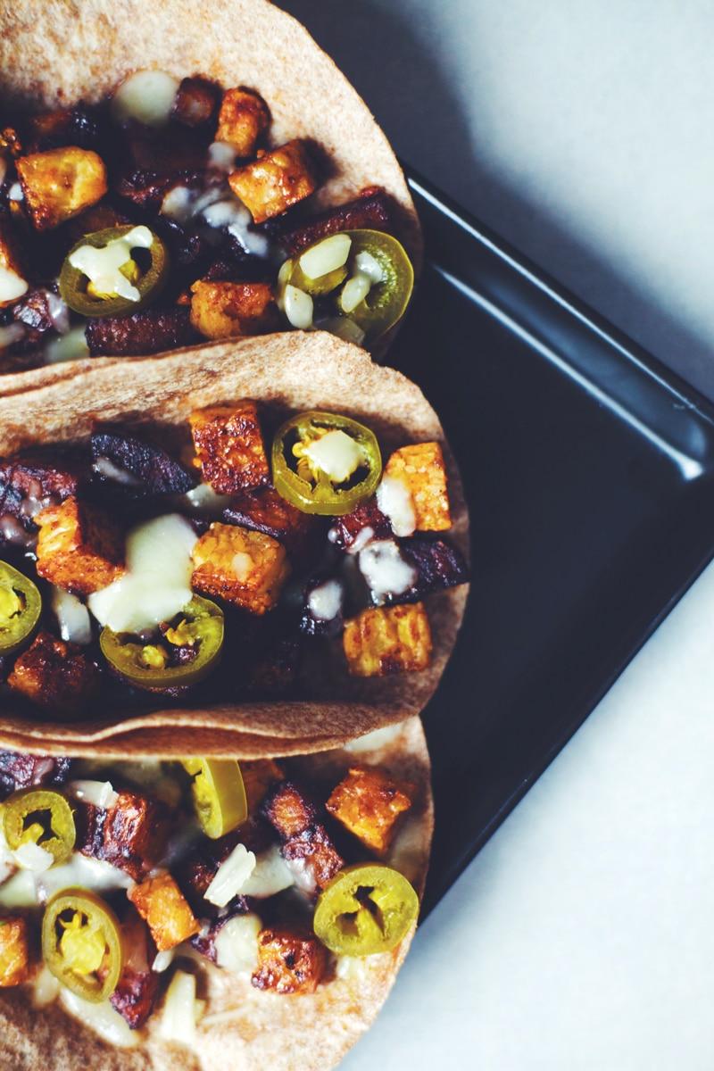 Texas BBQ Potato & Tempeh Tacos