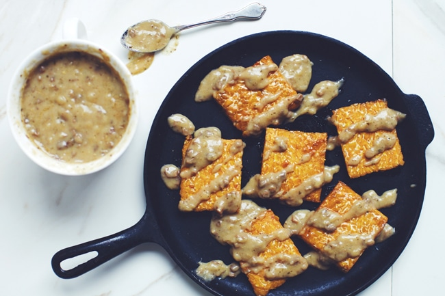 "Maple Miso Tempeh with Easy Mushroom ""Gravy"" 
