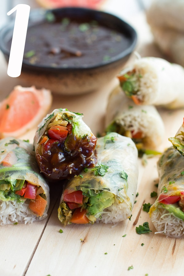 Half Baked Harvest - Brussels Sprout & Avocado Winter Rolls with Grapefruit Hoisin Dipping Sauce