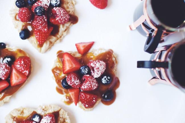 lemon cream & berries dessert waffle