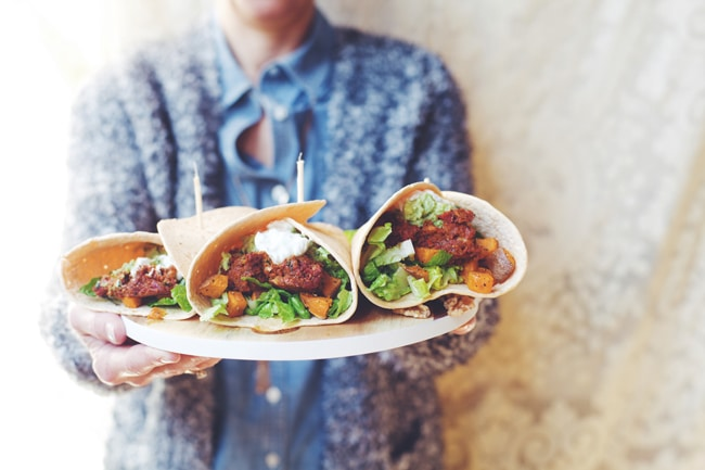 Mexican Dinner Wraps with Spicy Meatless Chorizo