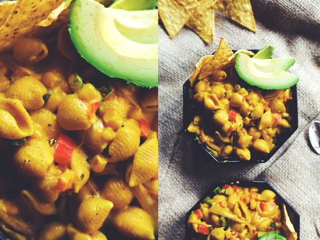 vegan mac and cheese with mexican flavors