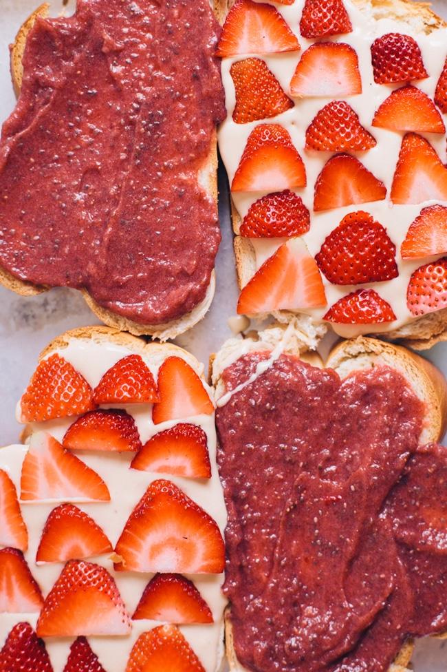 strawberry chia jam with coconut mascarpone cream