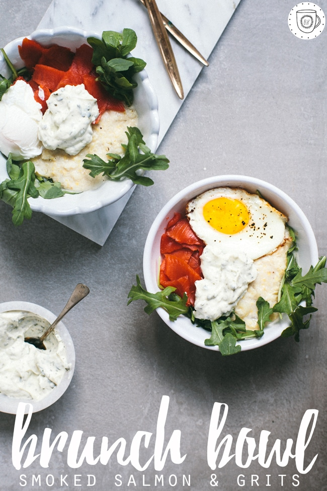 do brunch at home with this healthy smoked salmon & grits brunch bowl