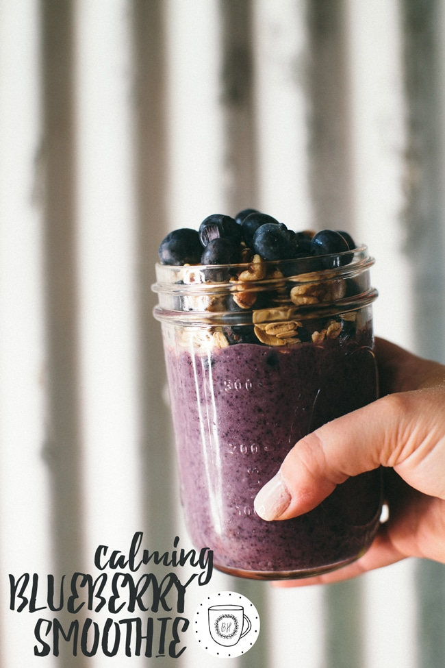 an amazing blueberry smoothie packed with walnuts, oats, banana, coconut water, dates, and -of course - blueberries!