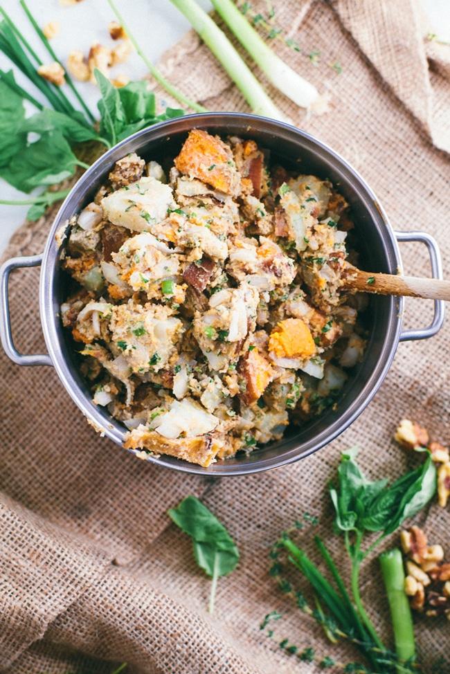 health-ified potato salad with herbs and tahini