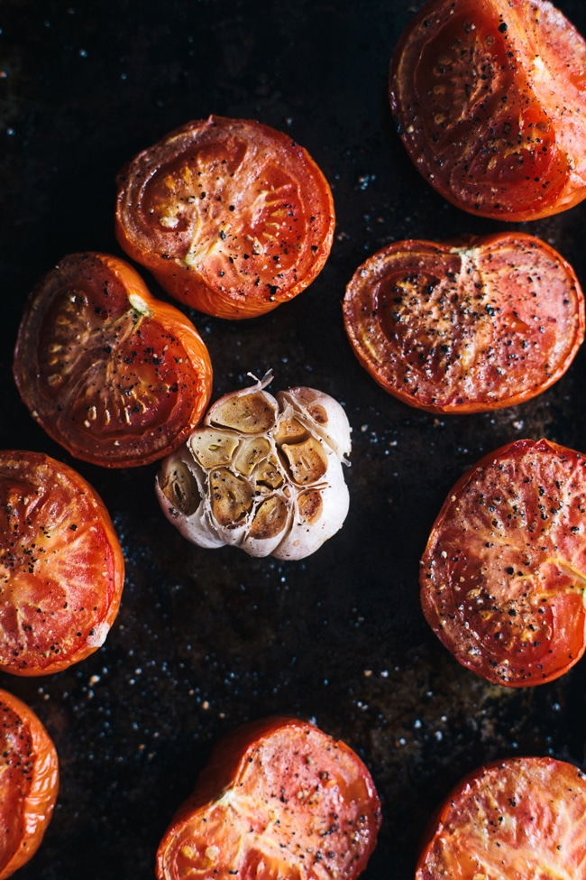 roasted tomatoes and garlic for bloody mary gazpacho shooters