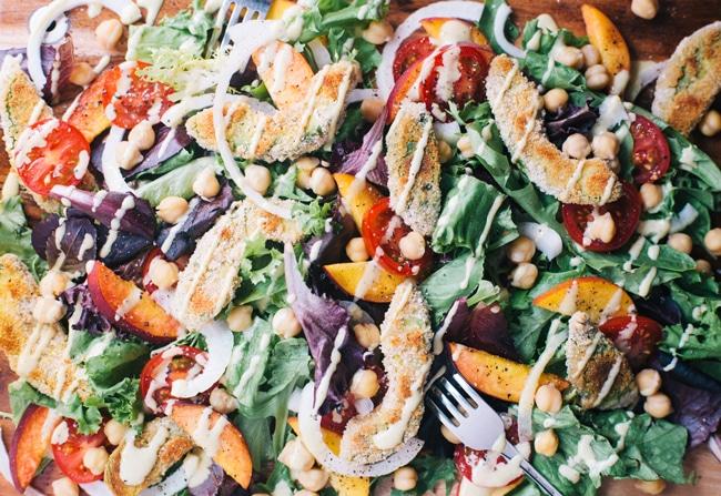 summer salad with crispy avocado