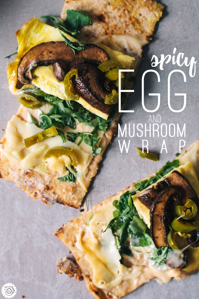 spicy egg and mushroom wrap