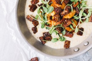 BBQ Shrimp & Cheese Grits with Smokey Tempeh
