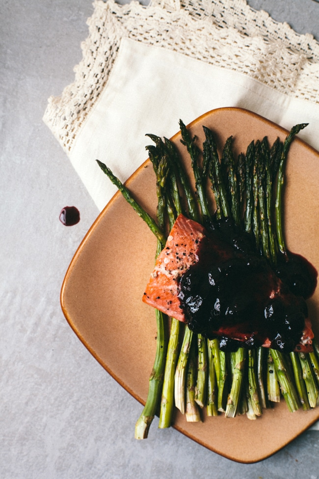 salmon with orange blueberry balsamic sauce