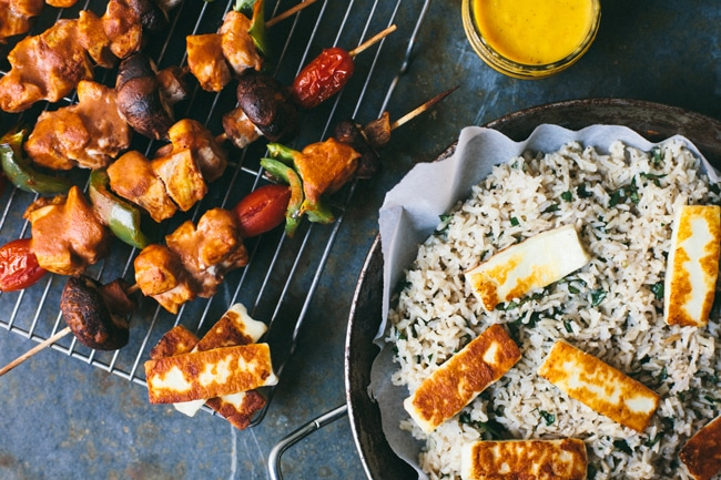 Masala Chicken Skewers #healthy #dinner | Brewing Happiness