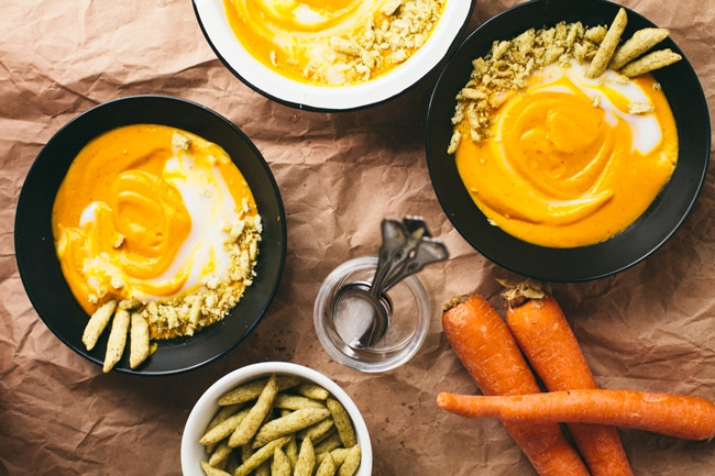 Easy Coconut Carrot Soup with @harvestsnaps   Brewing Happiness