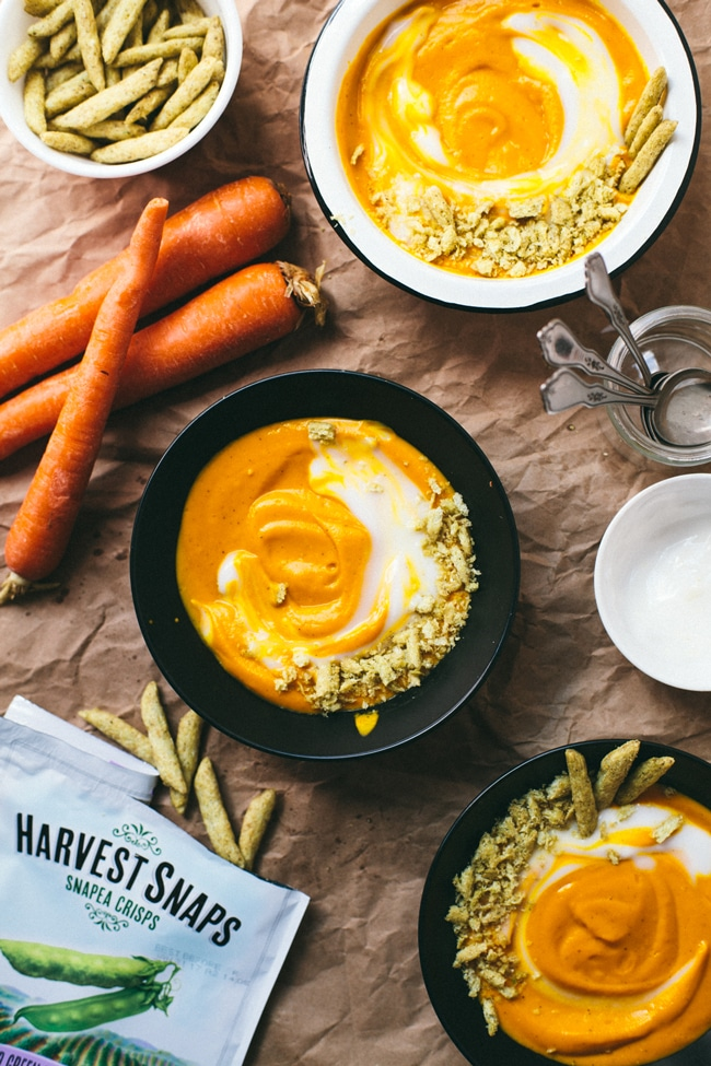 Easy Coconut Carrot Soup with @harvestsnaps | Brewing Happiness