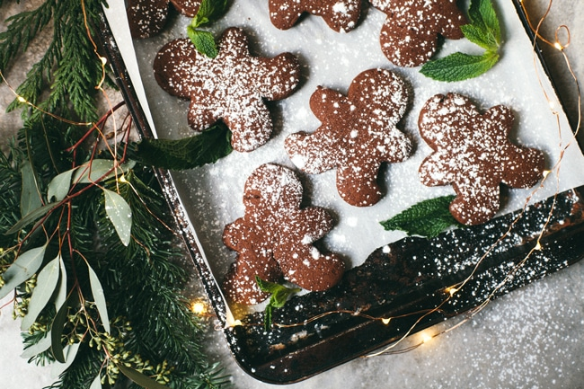 Mint Chocolate Gingerbread Cookies | Brewing Happiness
