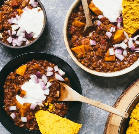 Lentil and Sweet Potato Vegetarian Chili | Brewing Happiness