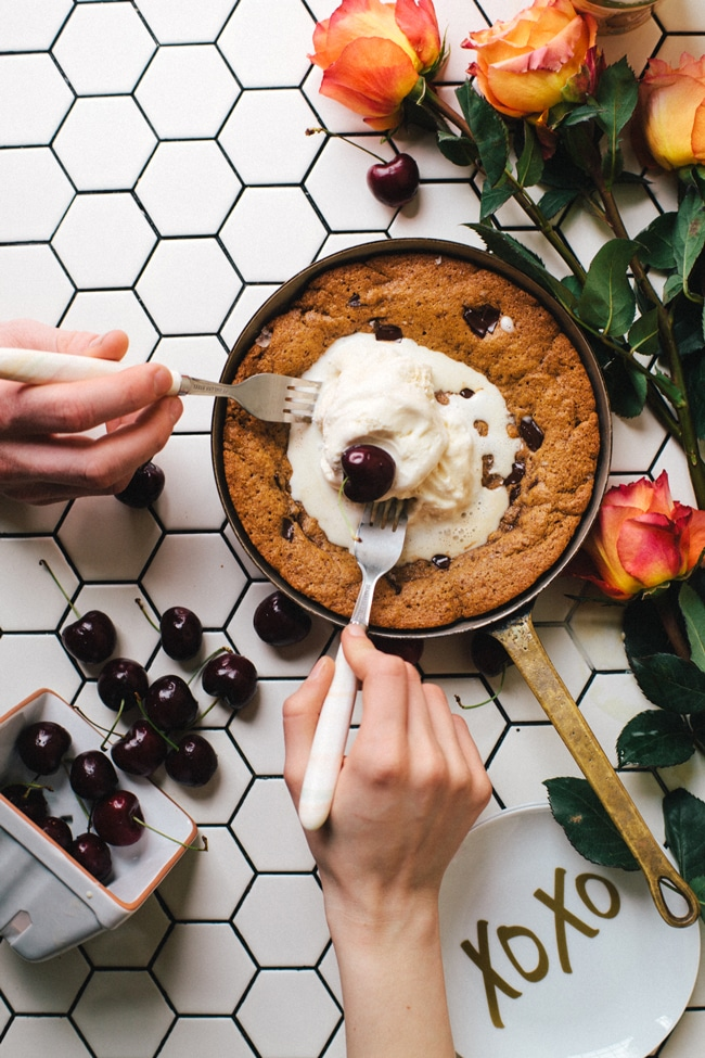 Healthy-ish Skillet Cookie for Two | Brewing Happiness