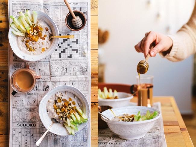 Golden Cinnamon Raisin Buckwheat Breakfast Porridge | Brewing Happiness