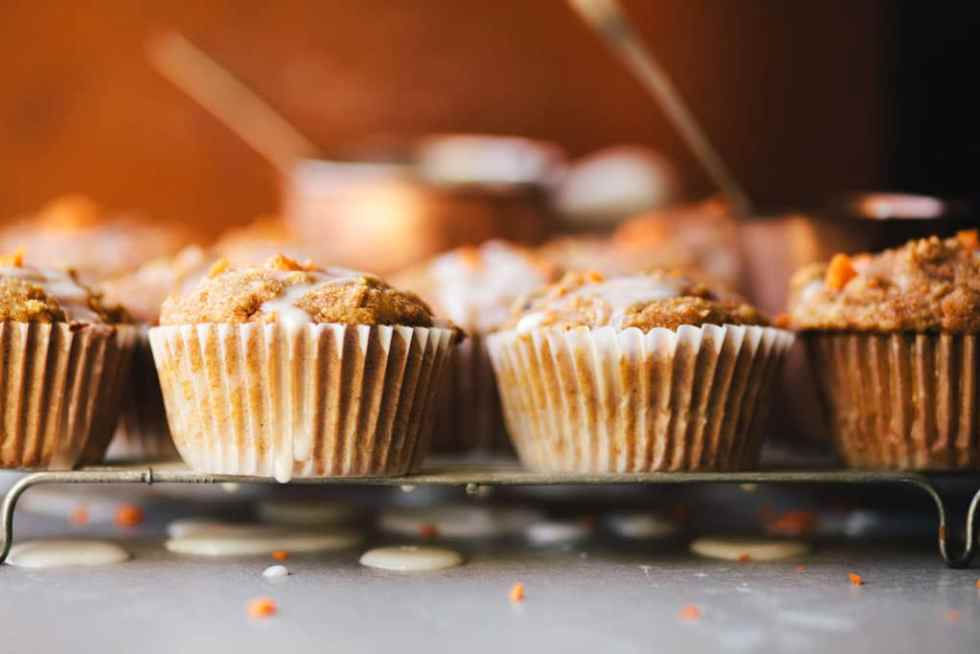 Healthyish Carrot Cake Cupcakes with Greek Yogurt Glaze | Brewing Happiness