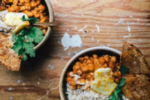 "Masala Chickpeas with Coconut Rice and Cheesy Garlic ""Naan"" 