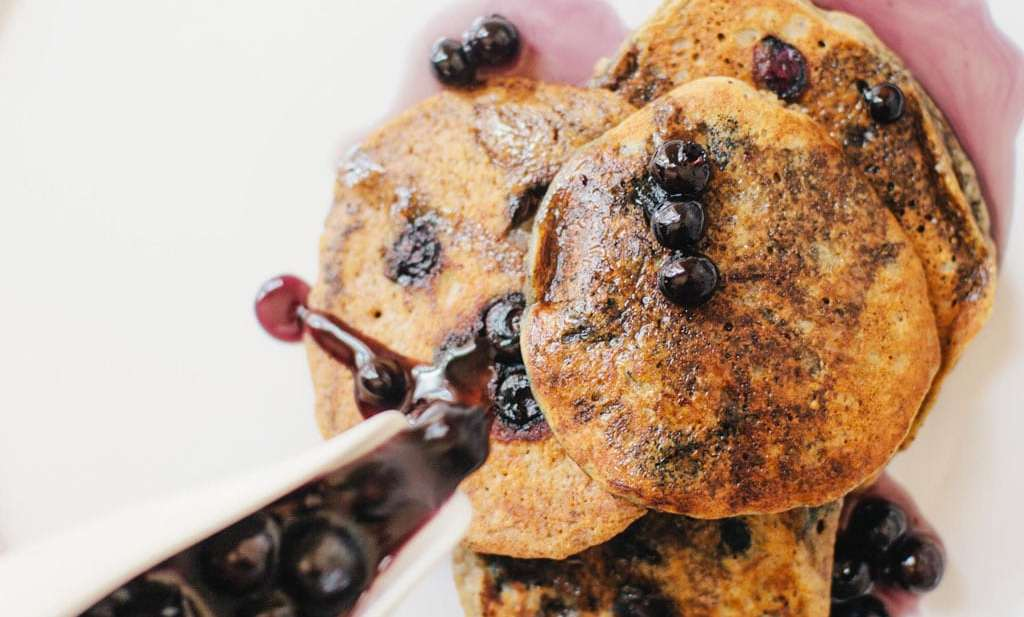 Single Serve Almond Flour Blueberry Pancakes with Easy Blueberry Syrup | Brewing Happiness