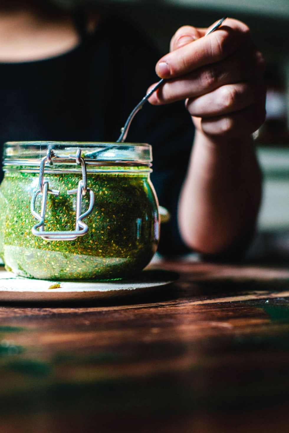 Green Tea Chia Pudding made with non-dairy milk, sweetened with honey, and sprinkled with spirulina (for an energy boost!) | Brewing Happiness