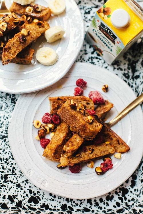 Vegan Hazelnut French Toast Sticks | Brewing Happiness