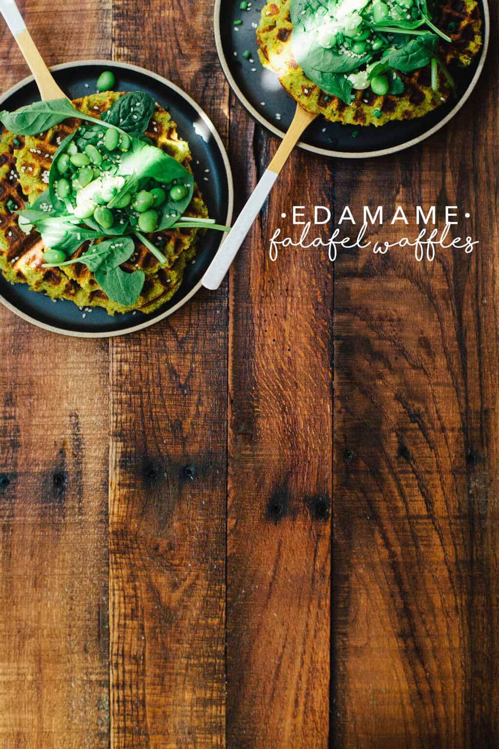 Edamame Falafel Waffles | Brewing Happiness