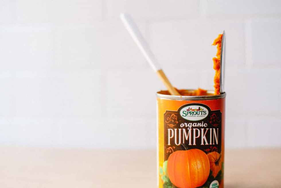 A can of Sprouts Brand organic pumpkin puree
