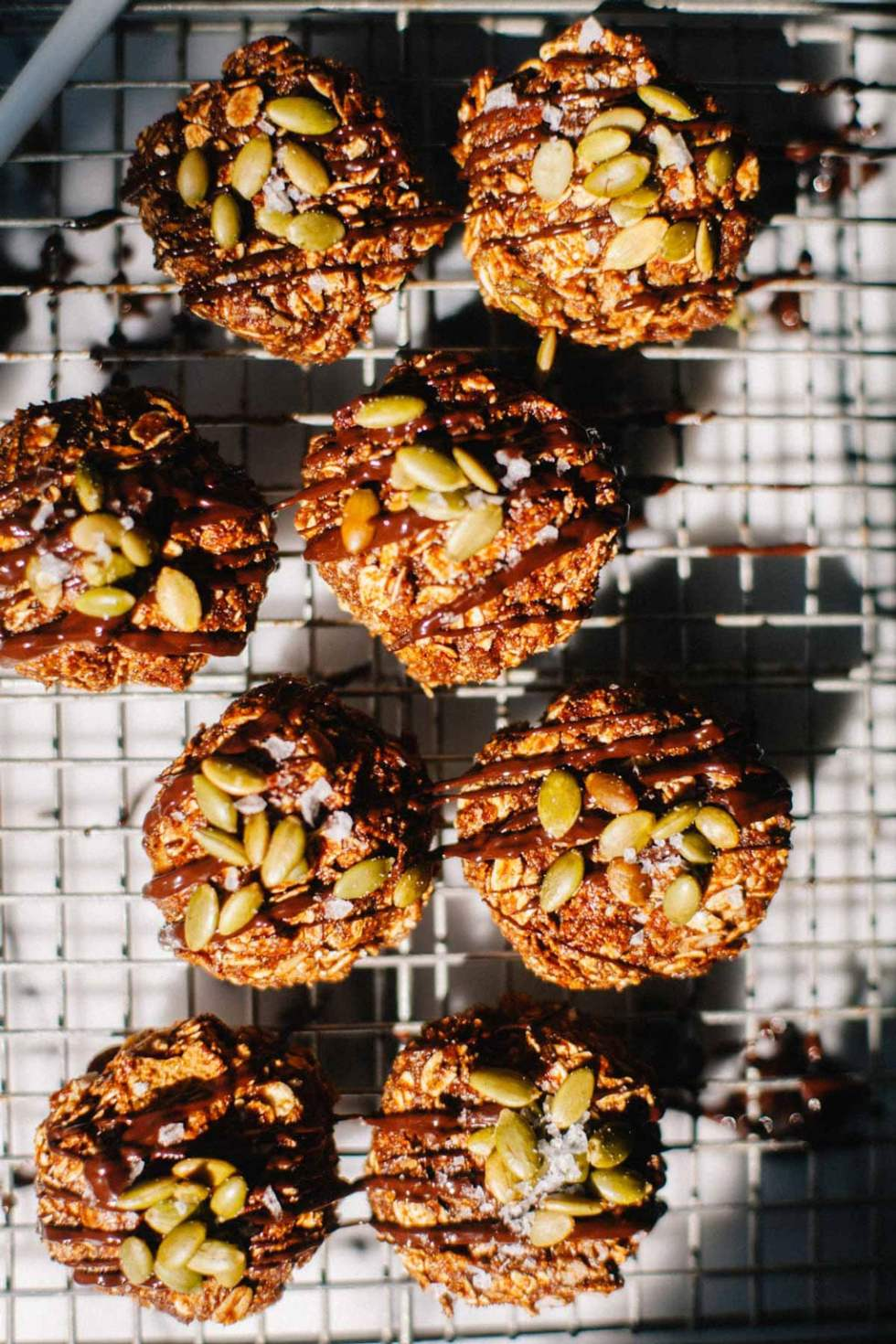 No Bake Chocolate Love Crunch Cookies basking in sunlight.