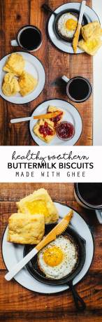 These Healthy Southern Buttermilk Biscuits are made with ghee and non dairy buttermilk. Plus they're sweetened naturally with honey, so you can feel good about what you're eating! #vegetarian #healthy #recipe #biscuits #buttermilkbiscuits