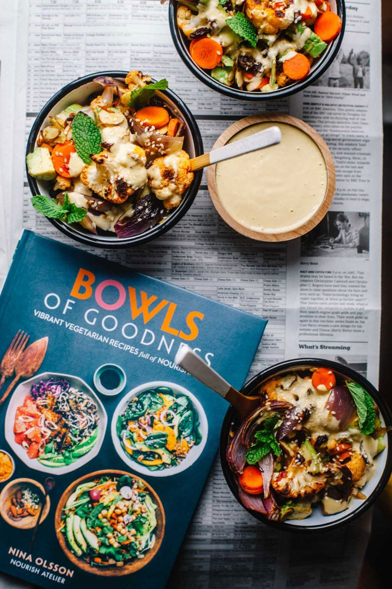 Three bowls of Moroccan Harissa Salad from Bowls of Goodness Cookbook