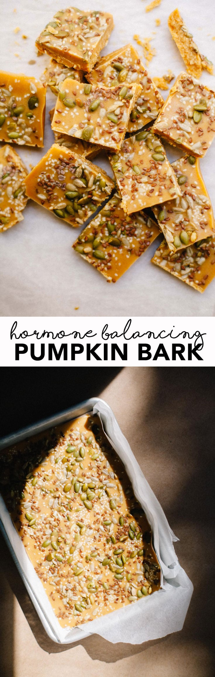 This Healthy Seedy Pumpkin Bark is packed with hormone balancing seeds, nut butter, healthy fats, pumpkin puree, and lightly sweetened with maple syrup! #pumpkin #recipe #healthy #vegan #brewinghappiness