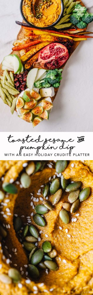 This Toasted Sesame and Pumpkin Dip with an Easy Holiday Crudite Platter is the perfect appetizer to serve at your holiday party! (The dip is so good, you can eat it with a spoon.) #holiday #recipe #healthy | Brewing Happiness