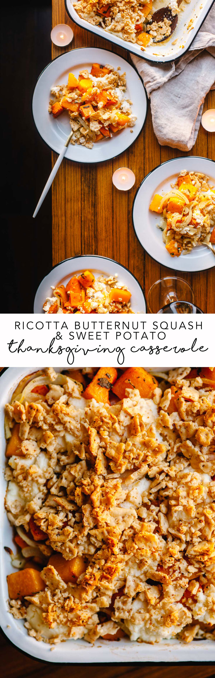 The best Thanksgiving side dish is here! It's totally vegetarian and packed with sweet potato, butternut squash, onions, ricotta, and topped with cracker crumbles. #vegetarian #casserole #Thanksgiving | Brewing Happiness