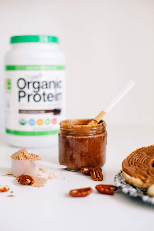 a jar of chocolate pecan protein spread