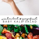 This Winter Beet & Grapefruit Baby Kale Salad with chickpeas, quinoa, and pepitas will be the hit of your holiday party! #vegan #salad #kale | Brewing Happiness