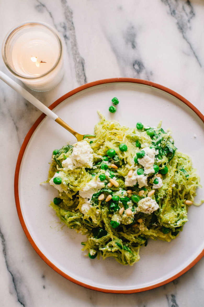 one plate of spinach and ricotta pesto pasta