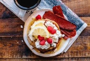 Whole-Wheat Lemon Chia Ricotta Pancakes | Brewing Happiness