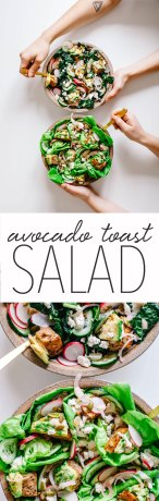 A salad with literal mini bites of avocado toast in every fork full. PLUS it's topped with all the best avocado toast toppings like cucumber, radish, feta, pickled shallots, seeds, and a lemon tahini dressing! Made in collaboration with @kaleandcaramel #salad #avocado #toast | Brewing Happiness