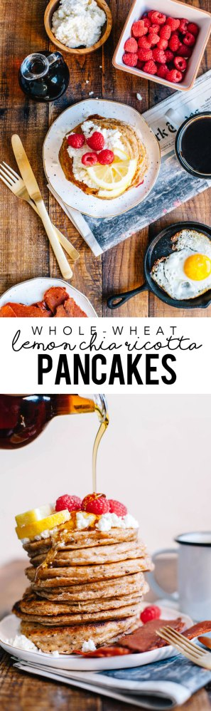 Whole Wheat Lemon Chia Ricotta Pancakes stuffed with healthy deliciousness and perfect for brunch or breakfast in bed! #pancakes #healthy | Brewing Happiness