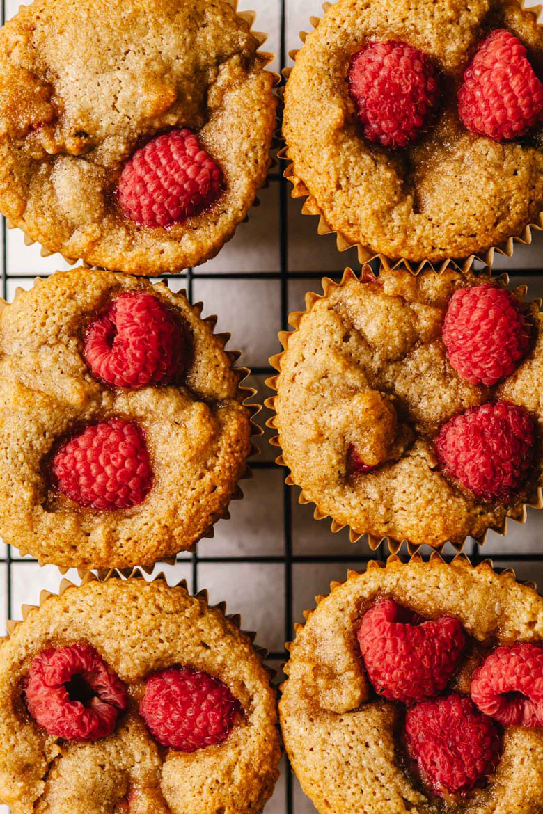 close up of raspberry rose muffins